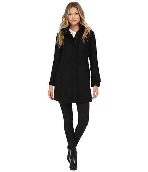 Cole Haan Single Breasted Belted Down Coat Black - Zappos.com Free ...