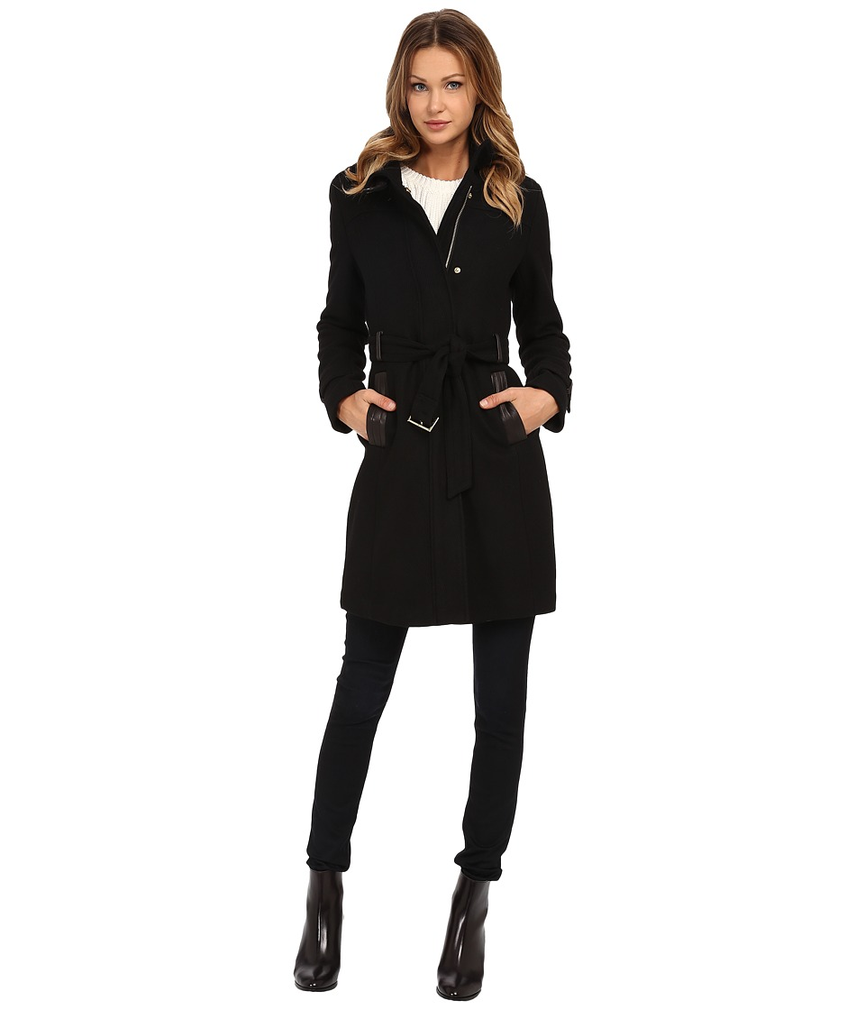 Cole Haan Zip Front Stand Collar Coat Black Womens Coat