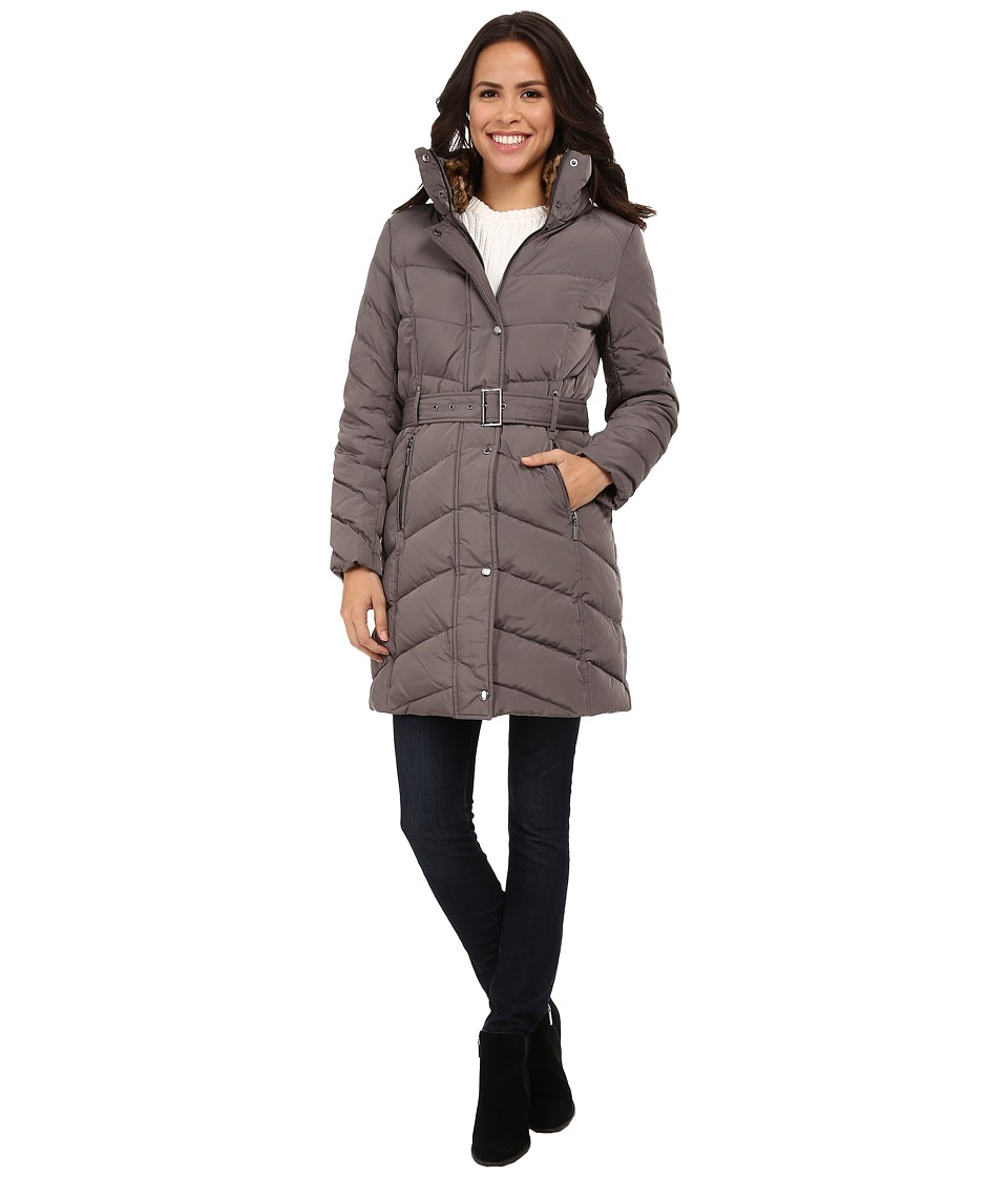 Cole Haan Single Breasted Belted Down Coat Carbon Womens Coat