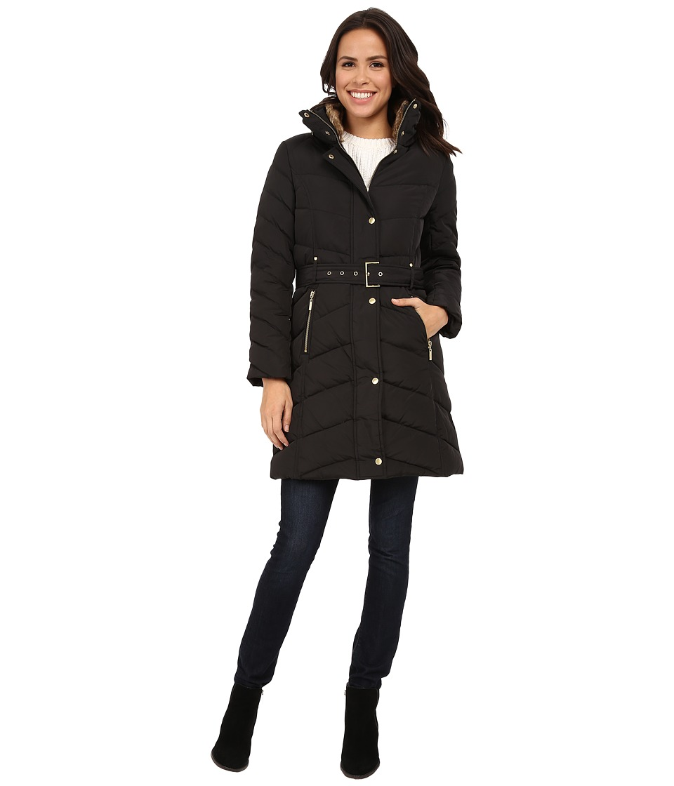 Cole Haan Single Breasted Belted Down Coat Black Womens Coat