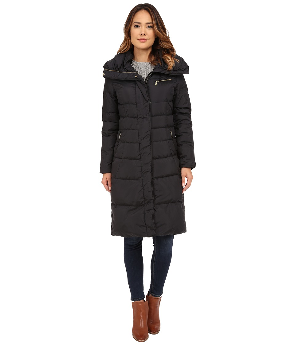 Cole Haan Single Breast Down Coat with Asymmetrical Snap Placket (Black) Women
