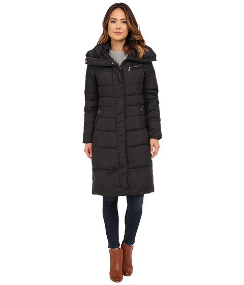 Cole Haan Single Breast Down Coat with Asymmetrical Snap Placket