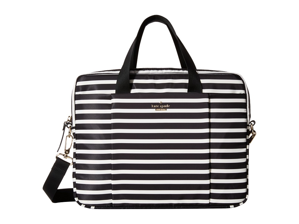 Kate Spade New York - Classic Nylon Stripe Laptop Commuter Bag 13 (Black/Cream) Computer Bags