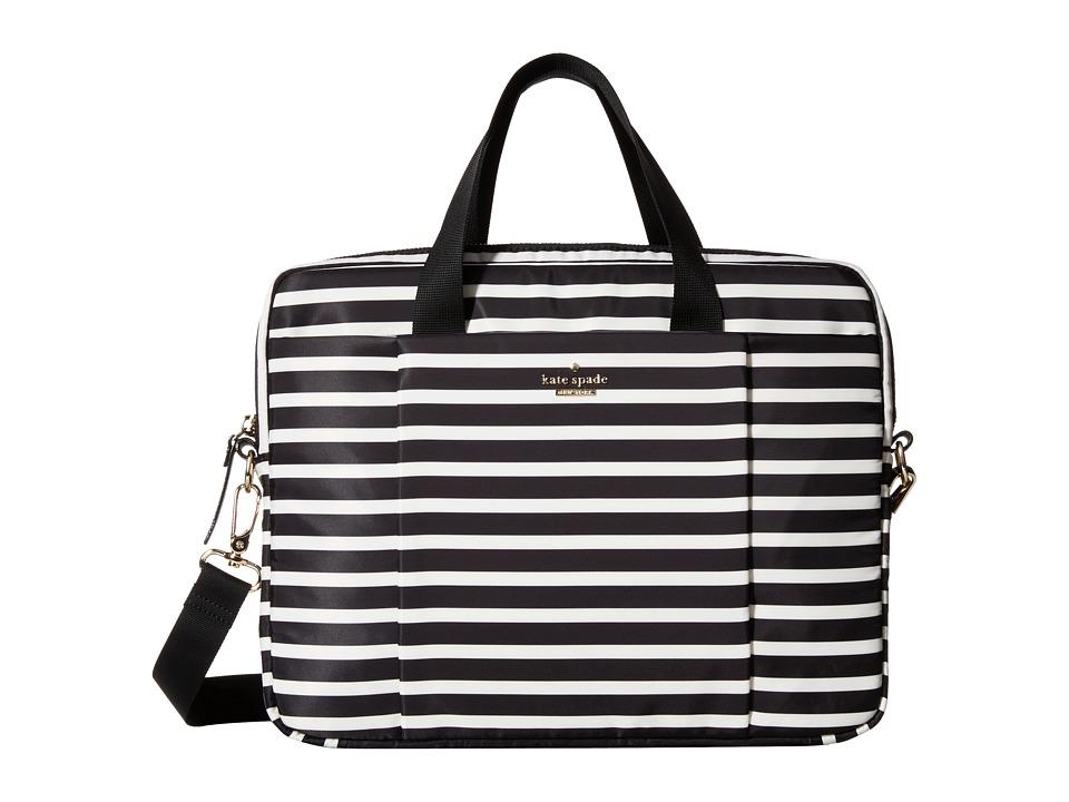 Kate Spade New York - Classic Nylon Stripe Laptop Commuter Bag 13 (Black/Cream) Computer Bags