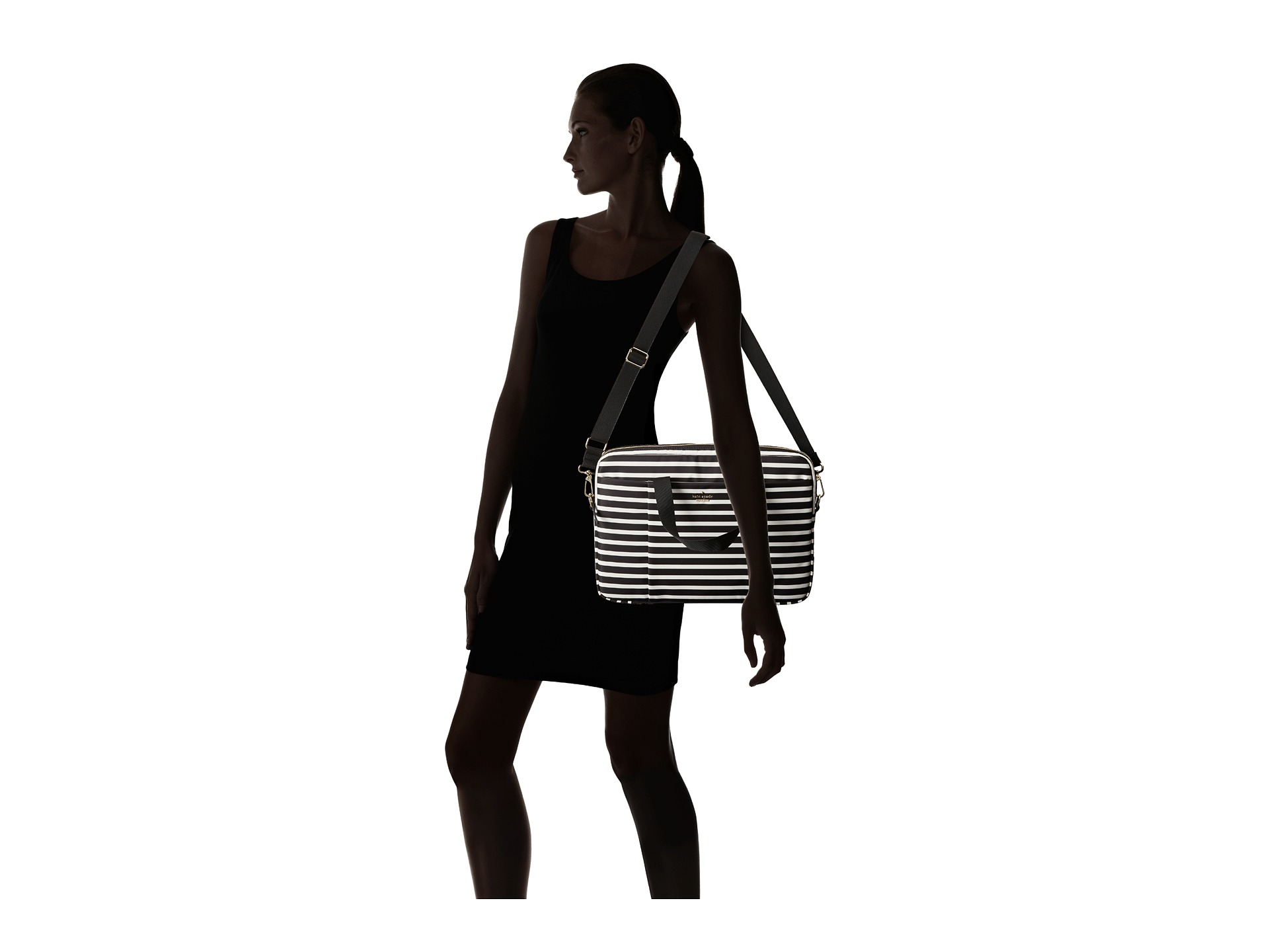 Kate Spade New York Classic Nylon Stripe Laptop Commuter Bag 15 Black