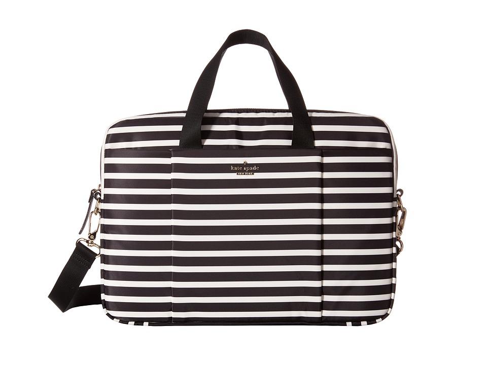 Kate Spade New York - Classic Nylon Stripe Laptop Commuter Bag 15 (Black/Cream) Computer Bags