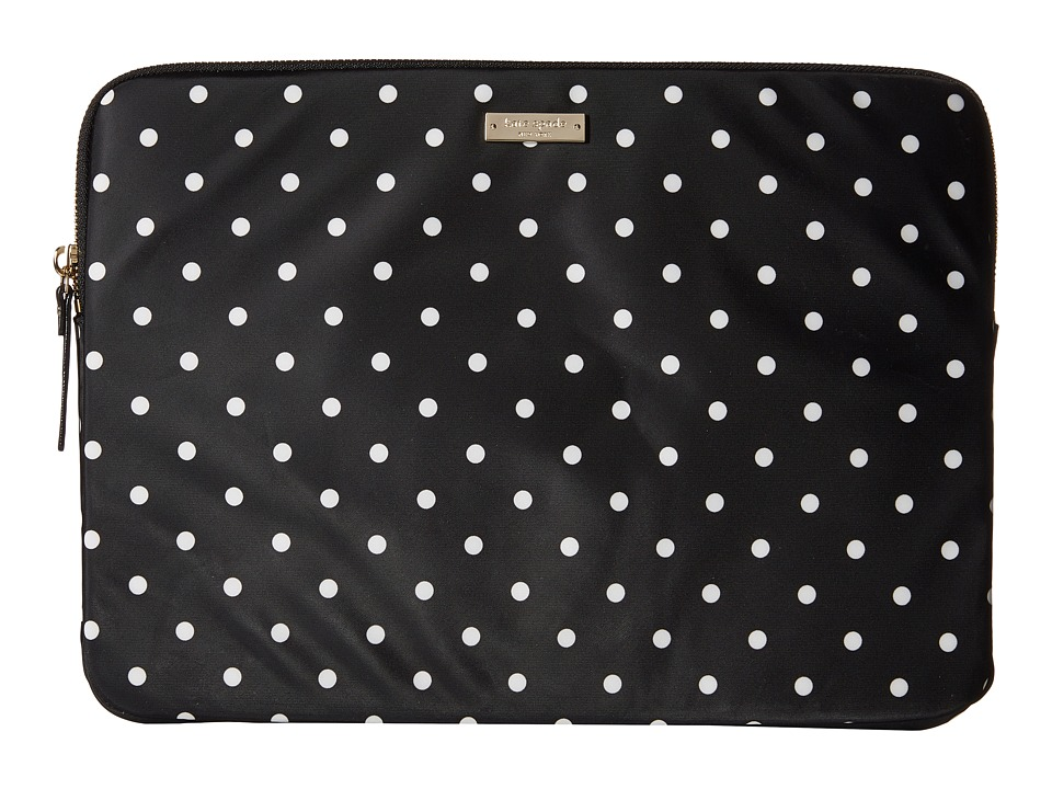 Kate Spade New York - Classic Nylon Mini Pavillion Dot Laptop Zip Sleeve with Back Pocket 13 (Black/Cream) Computer Bags