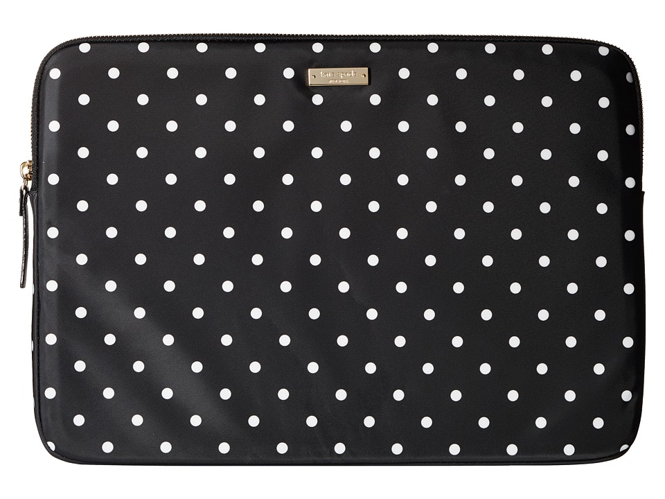 Kate Spade New York - Classic Nylon Mini Pavillion Dot Laptop Zip Sleeve with Back Pocket 15 (Black/Cream) Computer Bags