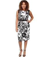 Adrianna Papell - Plus Size Geo Cutout Back Contrast Floral Scuba Dress