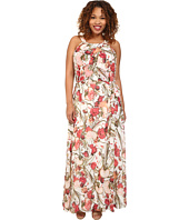 Adrianna Papell - Plus Size Crossover Drape Halter Printed Maxi Dress