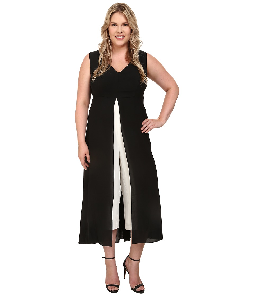 Adrianna Papell - Plus Size Color Blocked Overlay Jumpsuit BlackIvory Womens Jumpsuit  Rompers One Piece $200.00 AT vintagedancer.com