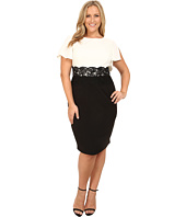 Adrianna Papell - Plus Size Flutter Sleeve Lace Midriff Sheath Dress