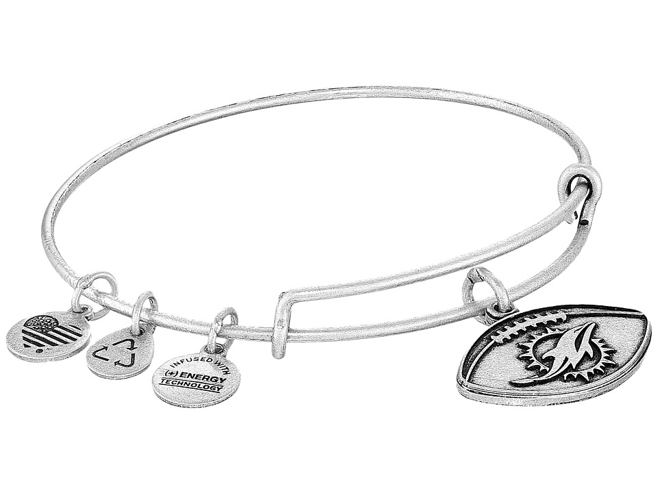 Alex and Ani - NFL Miami Dolphins Football Bangle (Rafaelian Silver) Charms Bracelet