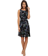 Adrianna Papell - Fractured Floral Printed Dress w/ Lace