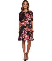 Adrianna Papell - Drawstring Neck w/ Blouson Floral Dress