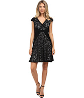 Adrianna Papell - Fit & Flare Lace and Tucked Jersey Dress