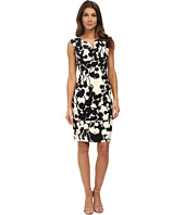 Adrianna Papell - Floral and Line Printed Pleated Sheath Dress