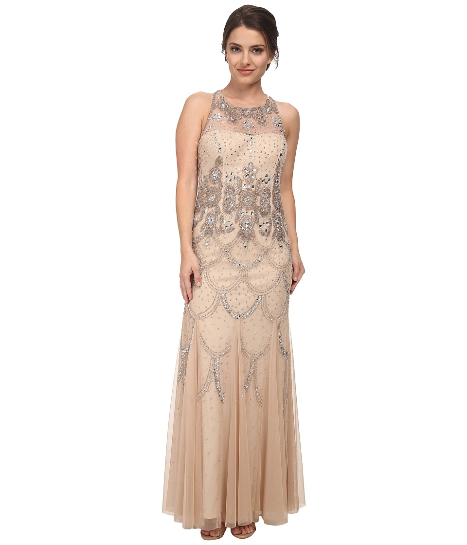 Adrianna Papell - Halter Fully Beaded Gown Champagne Womens Dress $340.00 AT vintagedancer.com