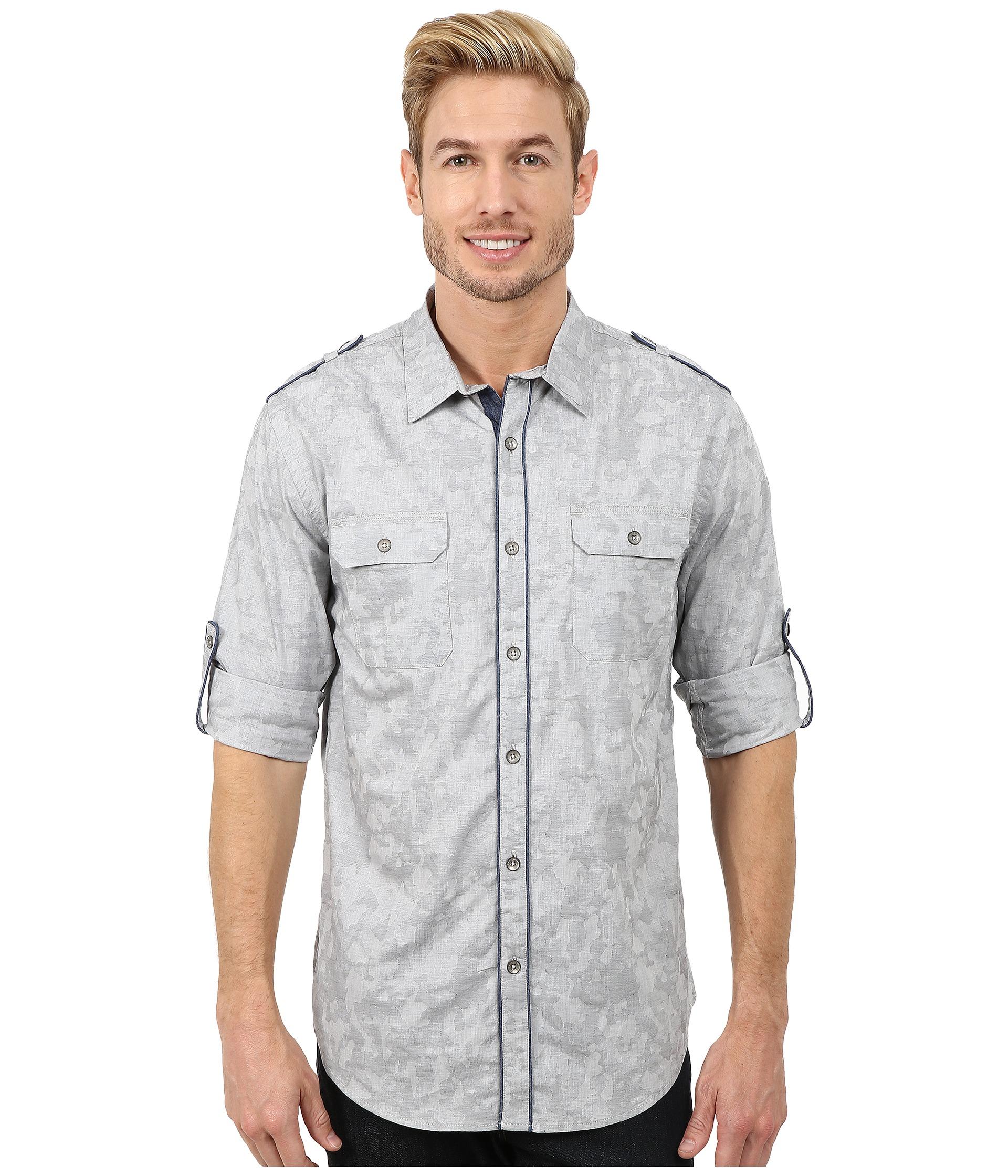 Dkny Jeans Long Sleeve Roll Tab Jacquard Camo Shirt Casual