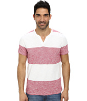 DKNY Jeans - Short Sleeve Solid/Feeder Stripe V-Neck Henley