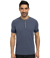 DKNY Jeans - Short Sleeve Slub Stripes Jersey/Chambray Mix Henley