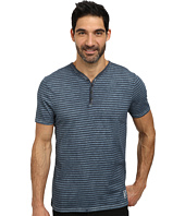 DKNY Jeans - Short Sleeve Yarn Dyed Stripe Beaten Pigment Wash Y-Henley
