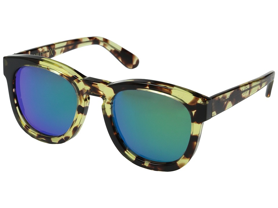 Wildfox Classic Fox Deluxe Amber Tortoise/Green Mirror Fashion Sunglasses