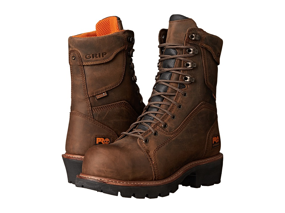 Timberland PRO 9 Composite Safety Toe Waterproof Insulated Logger (Brown Leather) Men