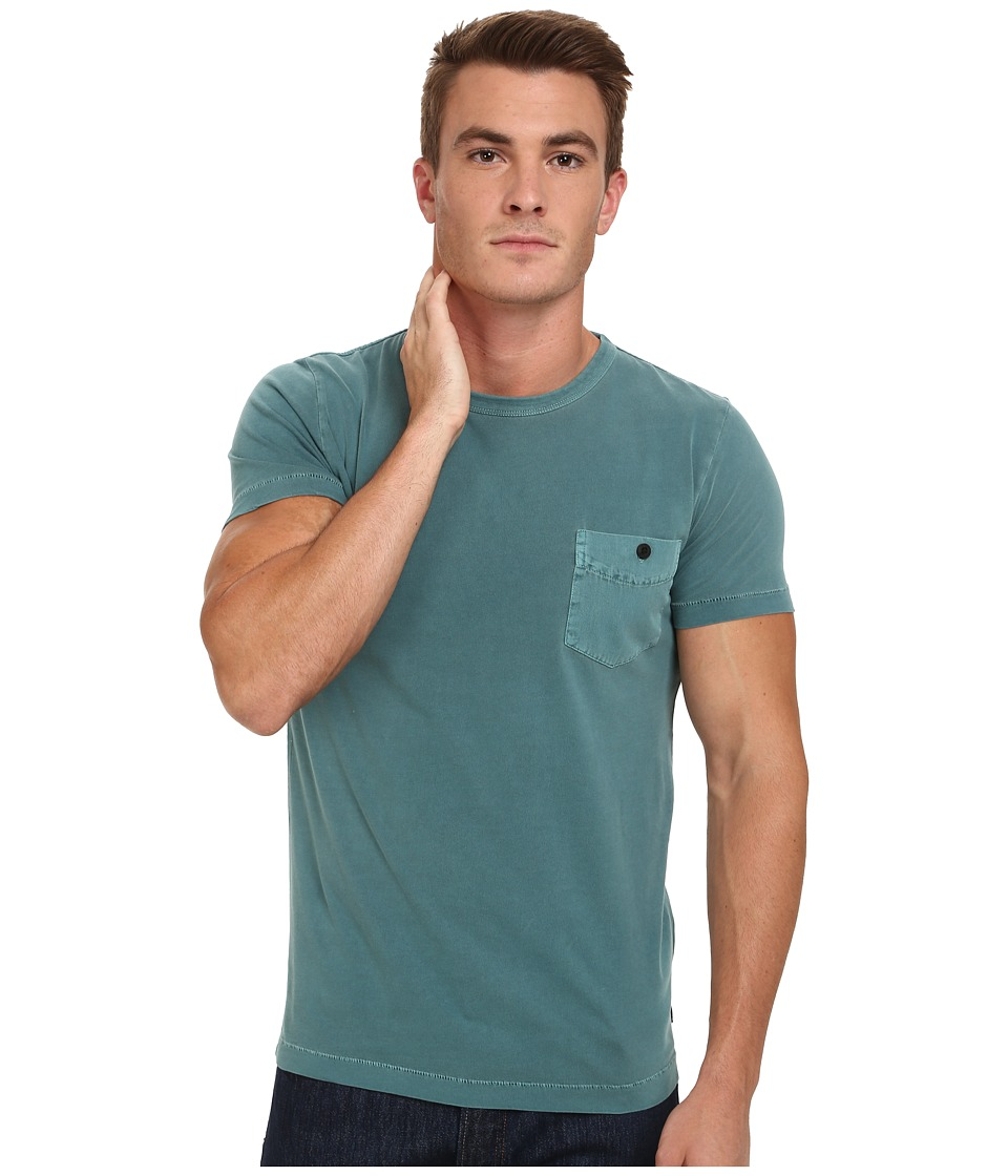 French Connection - Pigment Garment Dyed Twill Pcoket Tee (Mermaid) Men