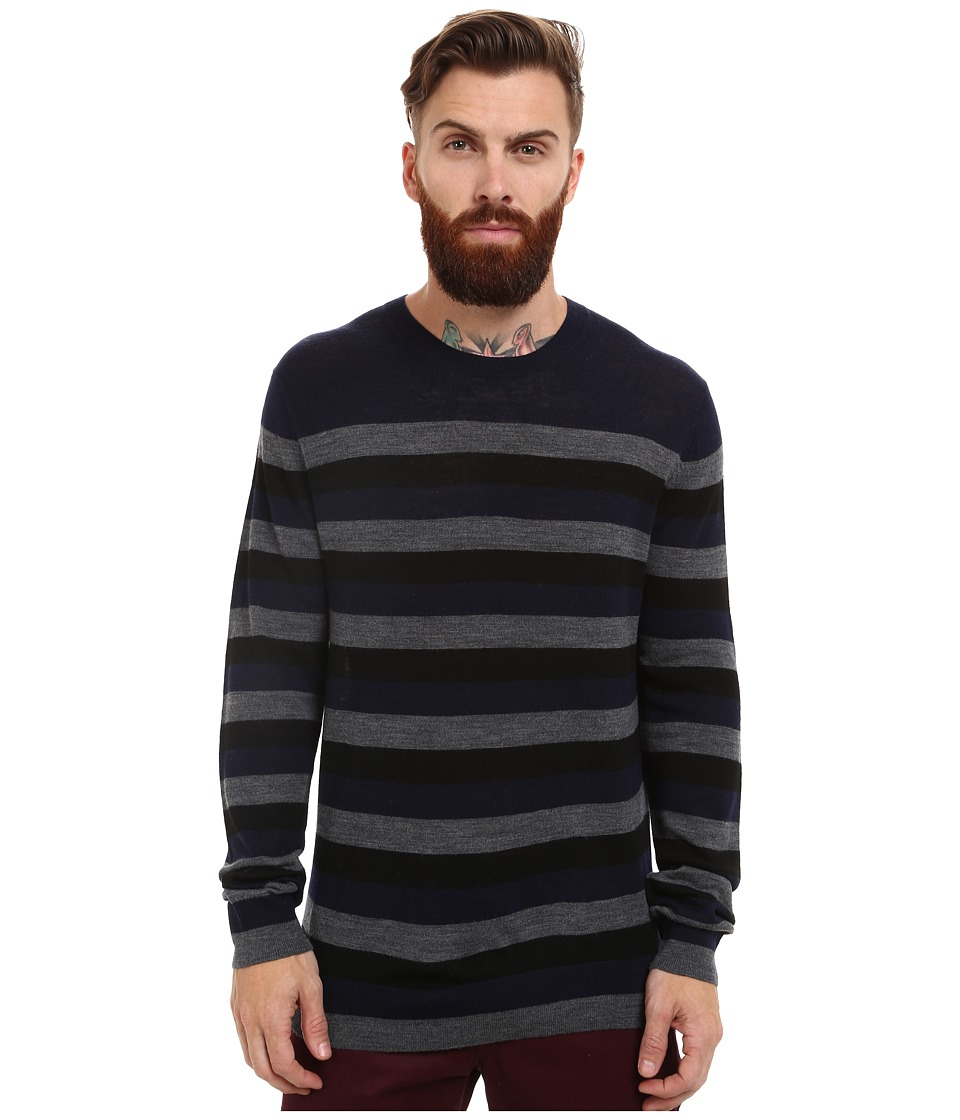 French Connection - Merino Stripe Knits (Marine Blue/Dark Grey Melange) Men