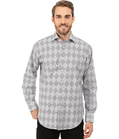 Thomas Dean & Co. - Long Sleeve Woven Argyle w/ Stripe