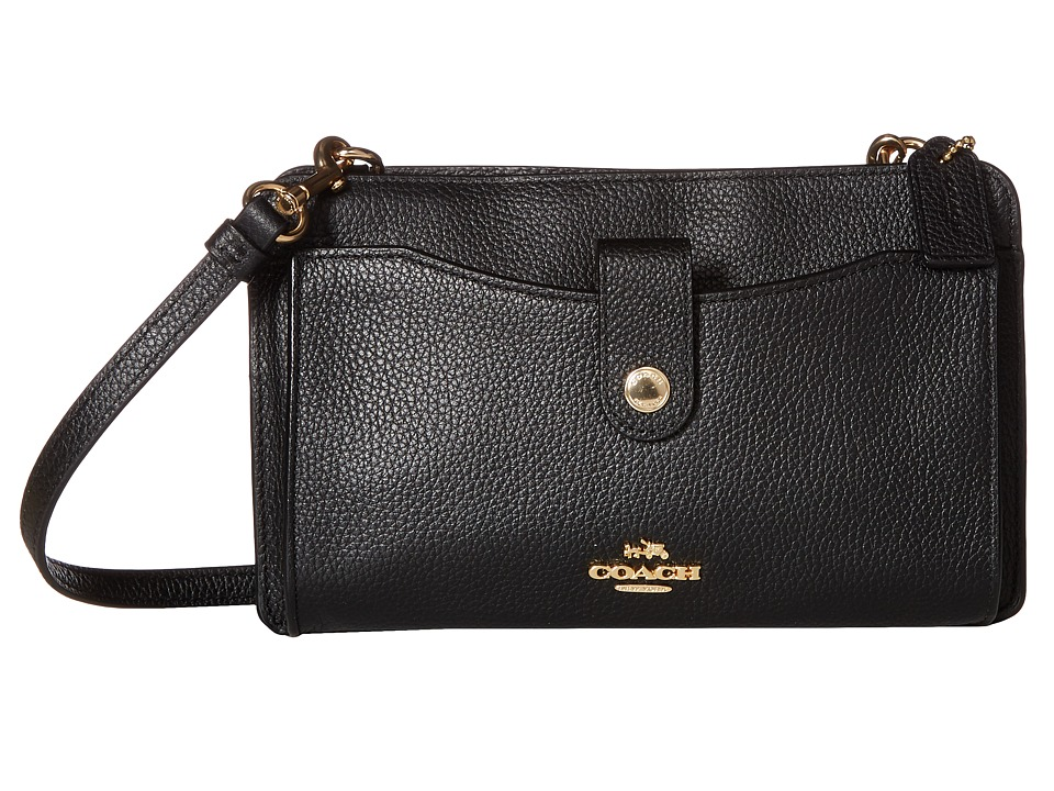 COACH - Polished Pebble Pop Up Messenger (LI/Black) Messenger Bags