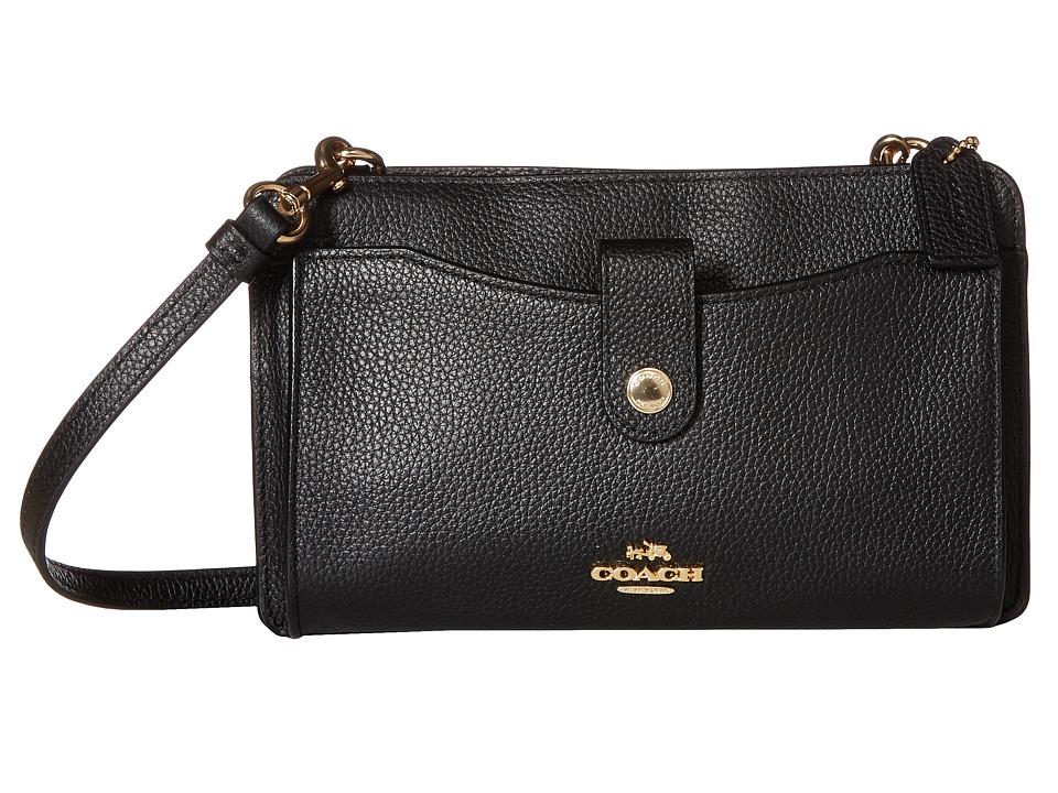 COACH - Polished Pebble Pop Up Messenger (LI/Black) Messenger Bags