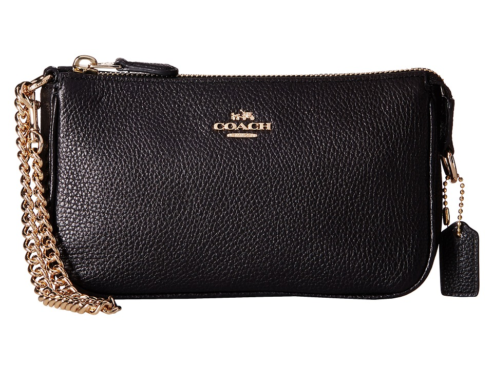 COACH - Polished Pebble Nolita 19 (LI/Black) Wristlet Handbags