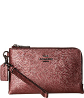 COACH - Metallic Pebbled Leather Double Corner Zip