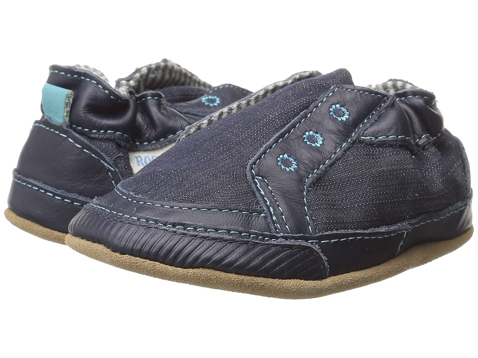 Robeez Stylish Steve Soft Sole (Infant/Toddler) (Navy) Boys Shoes