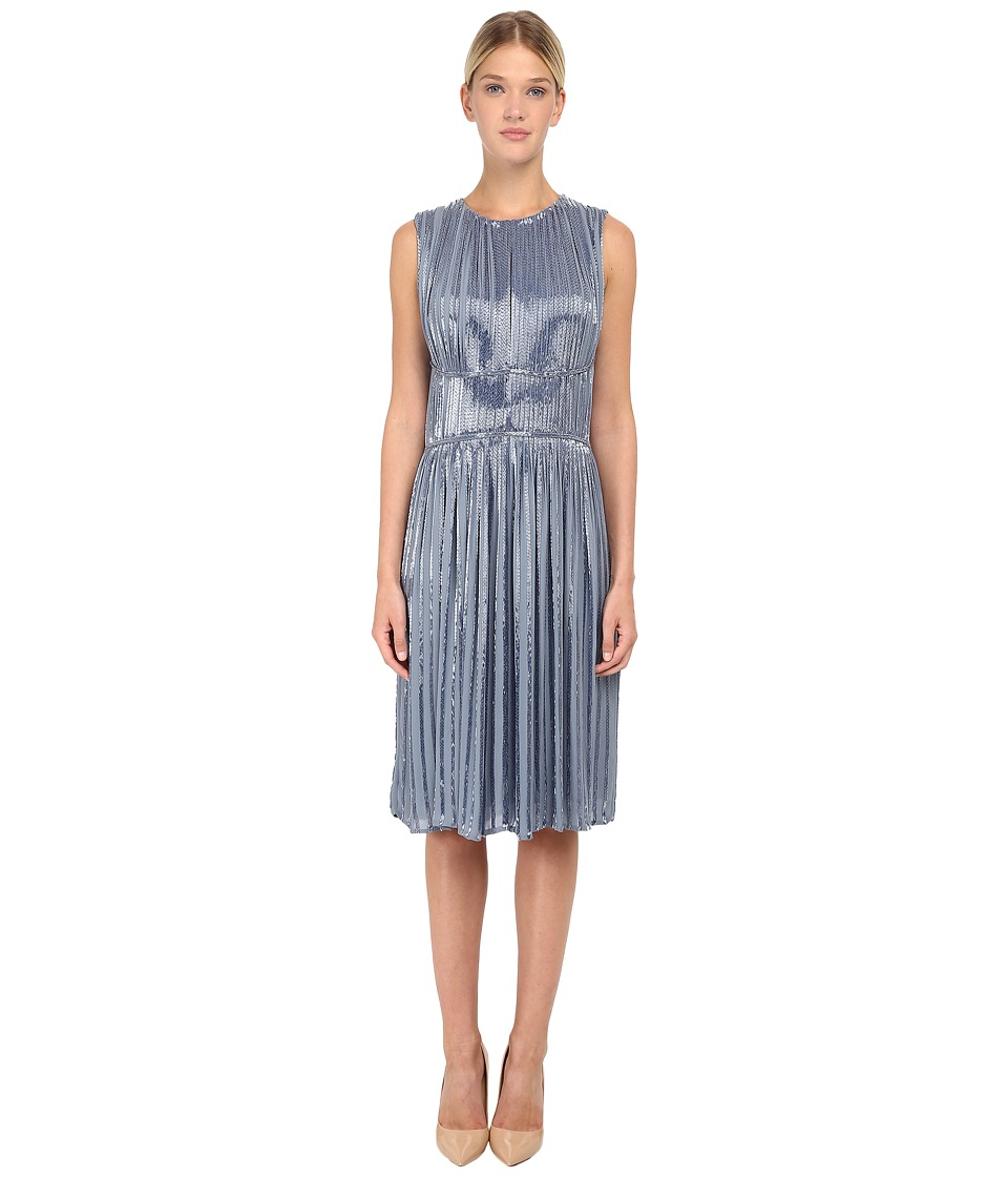 Zac Posen Bugle Beaded Cocktail Dress Powder Blue Womens Dress