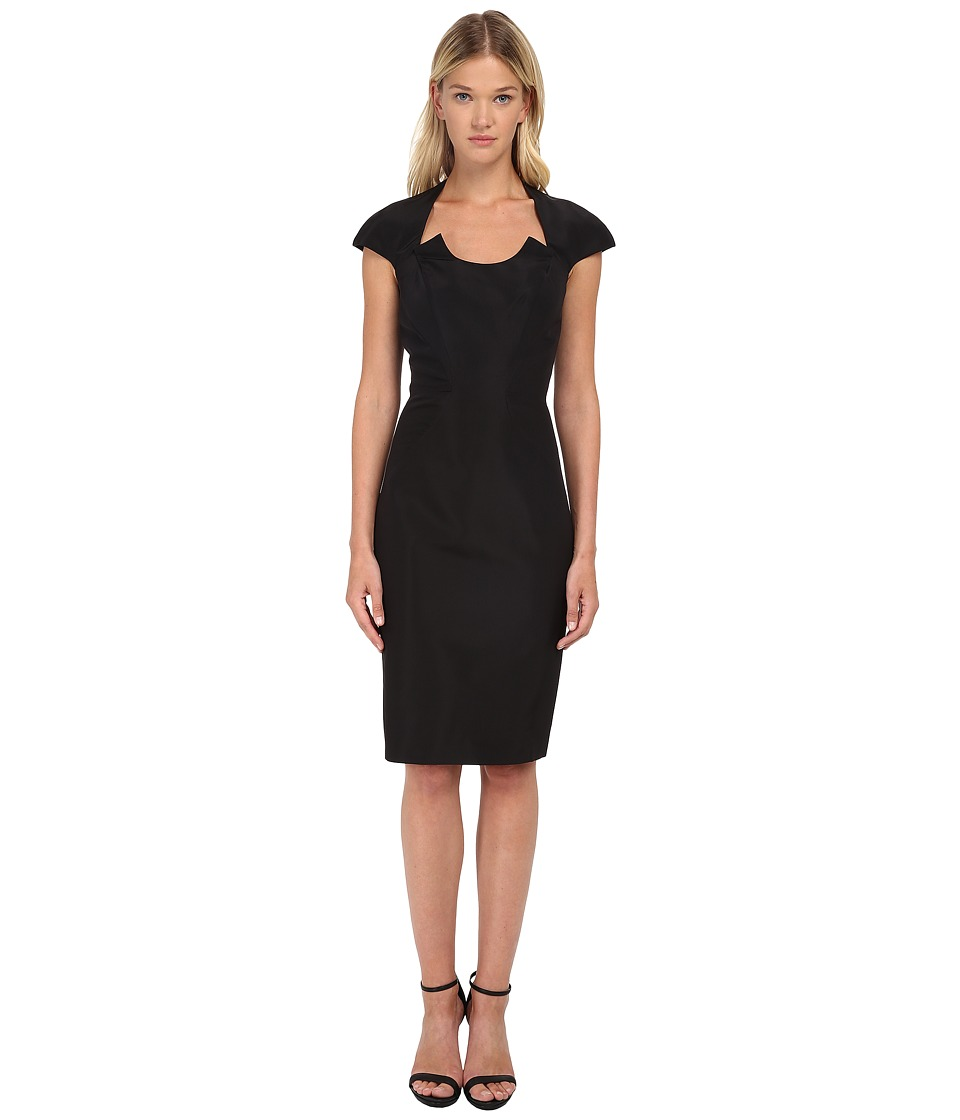 Zac Posen Fitted Dress with U Neckline Cutout and Cap Sleeves Black Womens Dress