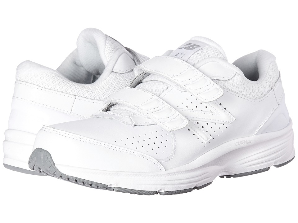 New Balance - WW411v2 Hook-and-Loop (White) Womens Walking Shoes