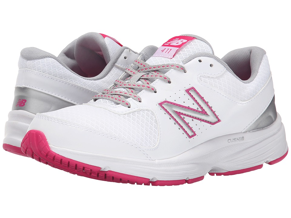 New Balance WW411v2 (White/Pink) Walking Shoes