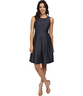 Adrianna Papell - Cross-Over Banded Chambray Dress