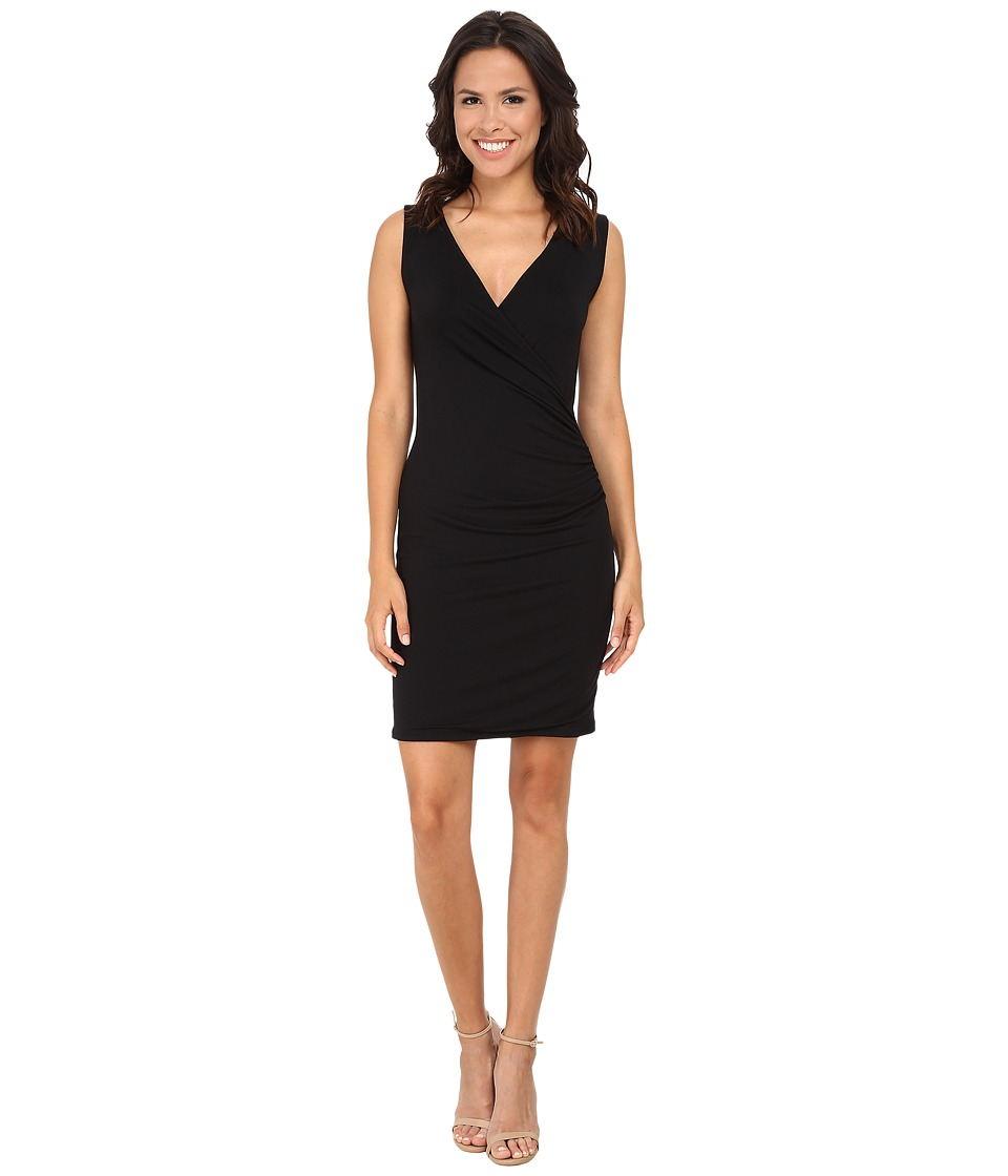 Michael Stars Exclusive Sleeveless Surplice Dress Black Womens Dress