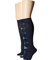 HUE - Argle/Solid 3-Pack Knee Sock