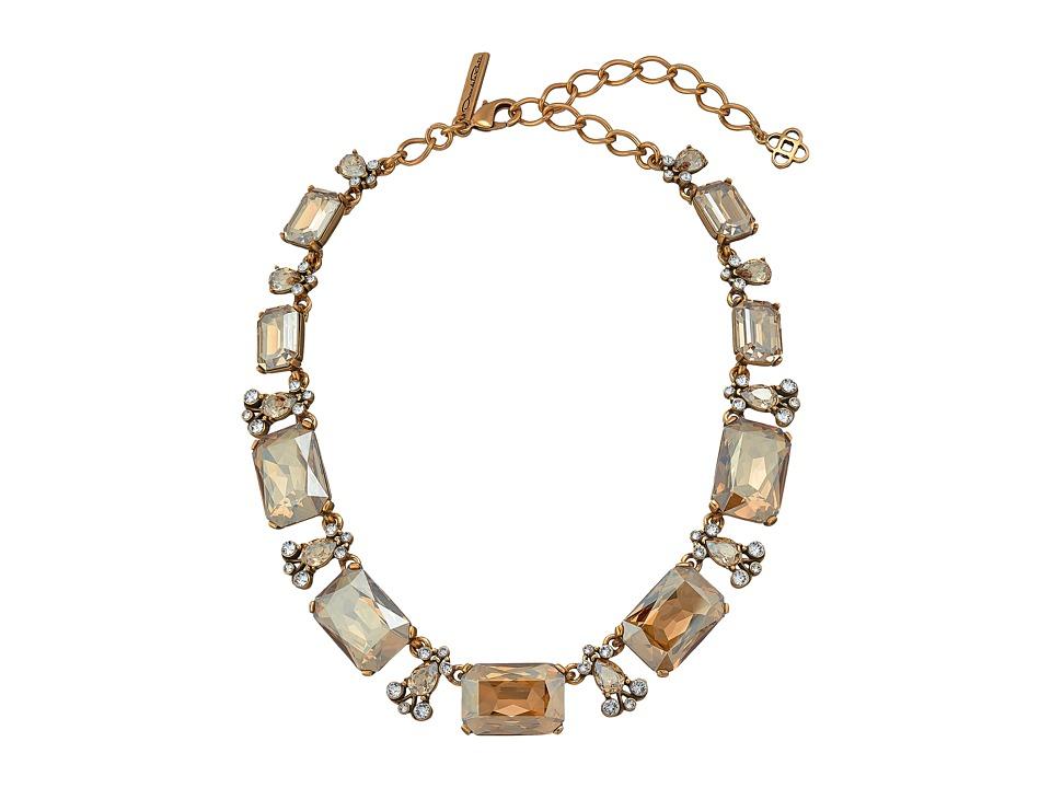 Oscar de la Renta Large Octagon Stone Necklace Cry Gold Shadow Necklace
