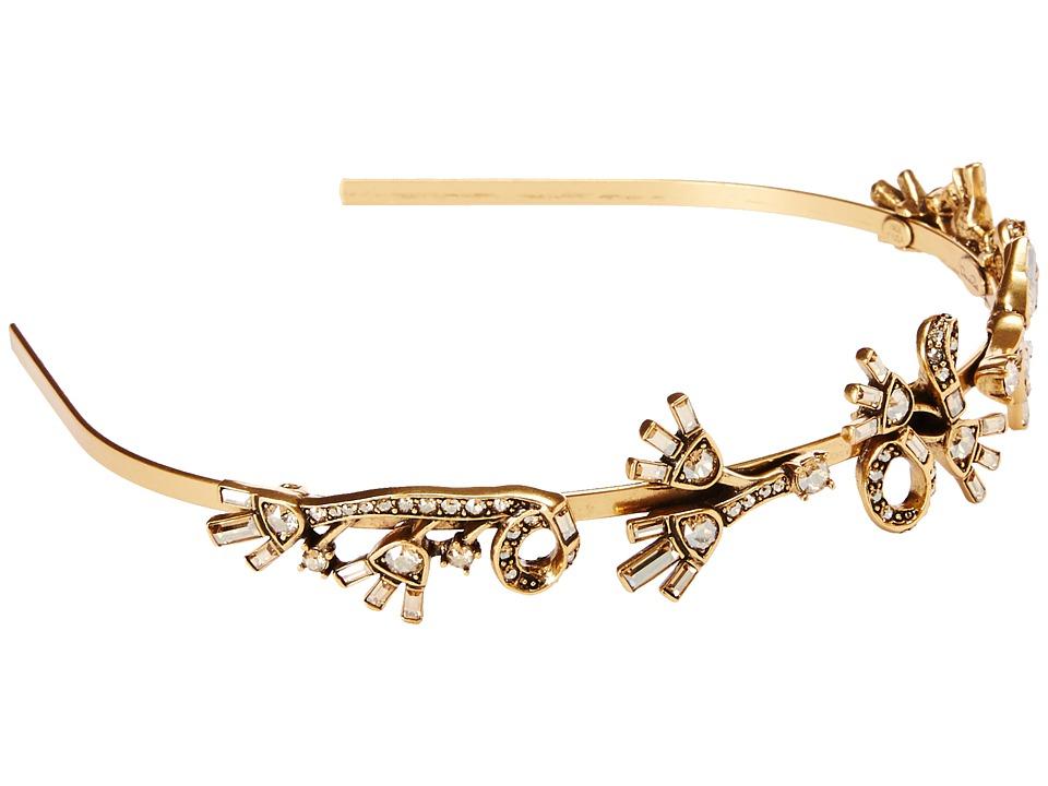 Oscar de la Renta Floral Baguette Headband Cry Gold Shadow Headband