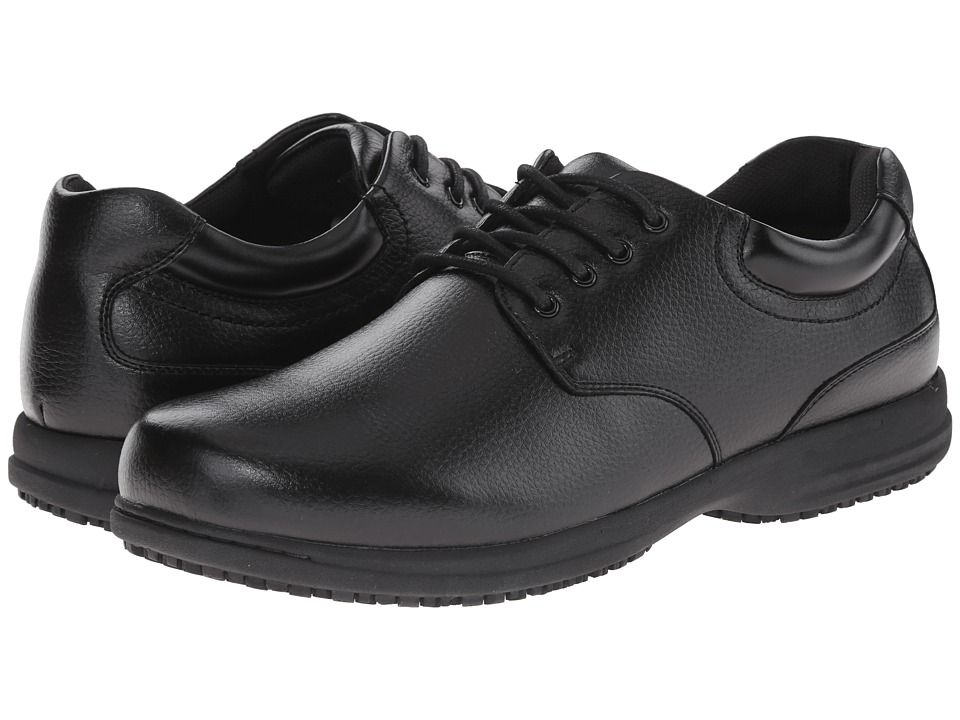 Nunn Bush Stu Slip-Resistant Plain Toe Oxford (Black Tumble) Men