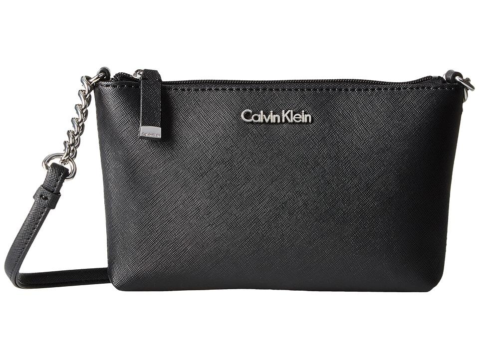 Calvin Klein - Saffiano Crossbody (Black/Silver) Cross Body Handbags