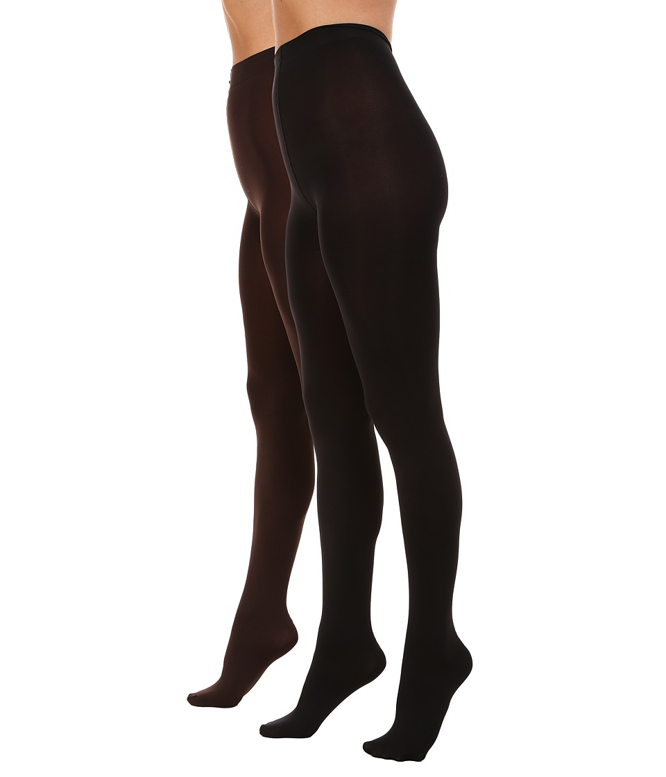 HUE - Blackout Tights 2-Pack (Espresso/Black) Hose