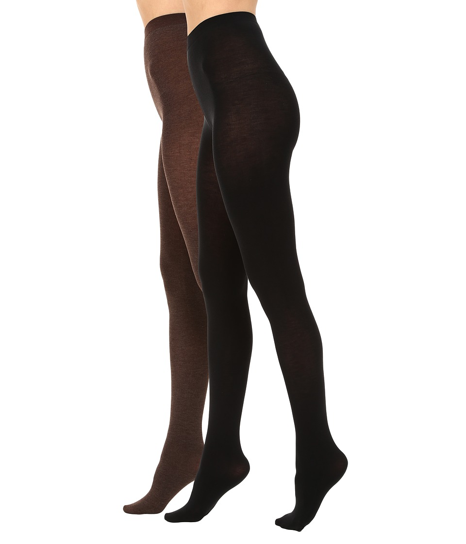HUE - Heat Temp Tights 2-Pack (Espresso Heather/Black) Hose