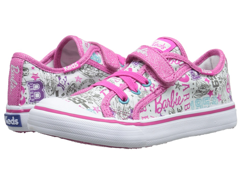 Keds Kids Barbie Double Up AC Toddler/Little Kid White Multi Girls Shoes